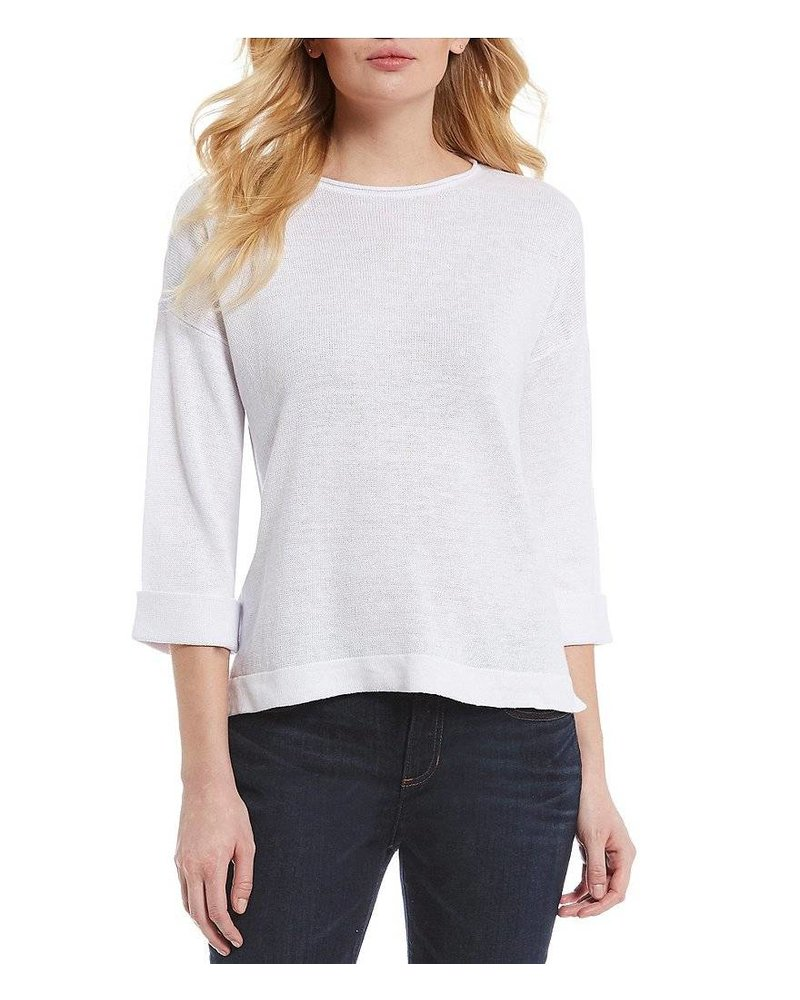 Eileen Fisher Org. Linen Knit Round Nk Top