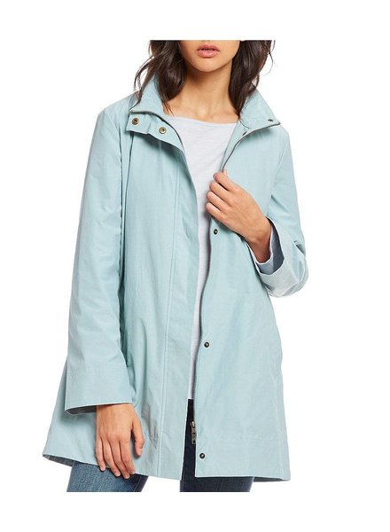 Eileen Fisher Organic Cotton Nylon Stand Collar Jacket