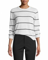 Vince Cashmere Striped Overlay Crew