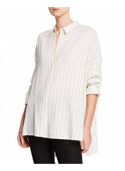 Eileen Fisher Striped Gauze Classic Collar Shirt