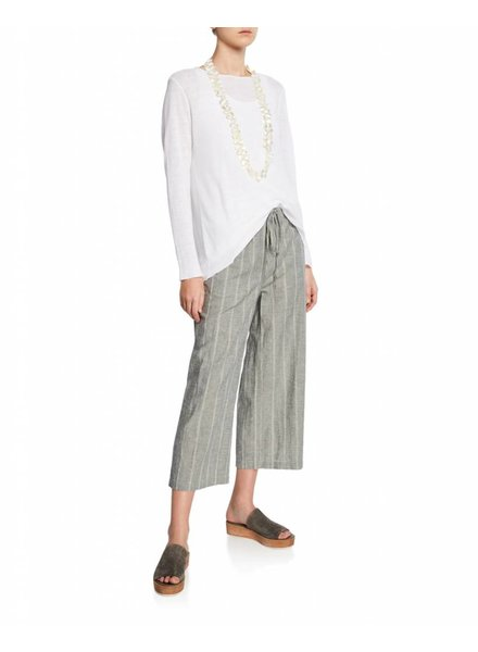 Eileen Fisher Wide Stripe Organic Cotton Hemp Cropped Pant