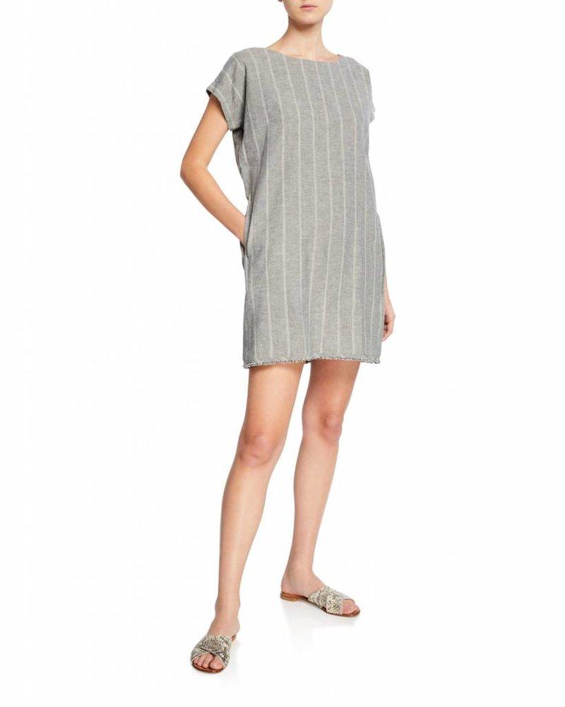 Eileen Fisher Wide Stripe Organic Cotton Hemp Ballet Nk Short Dress