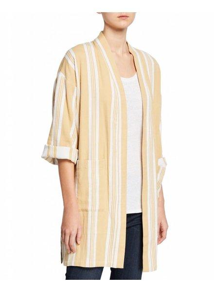 Eileen Fisher Double Weave Striped Cotton Kimono Jacket
