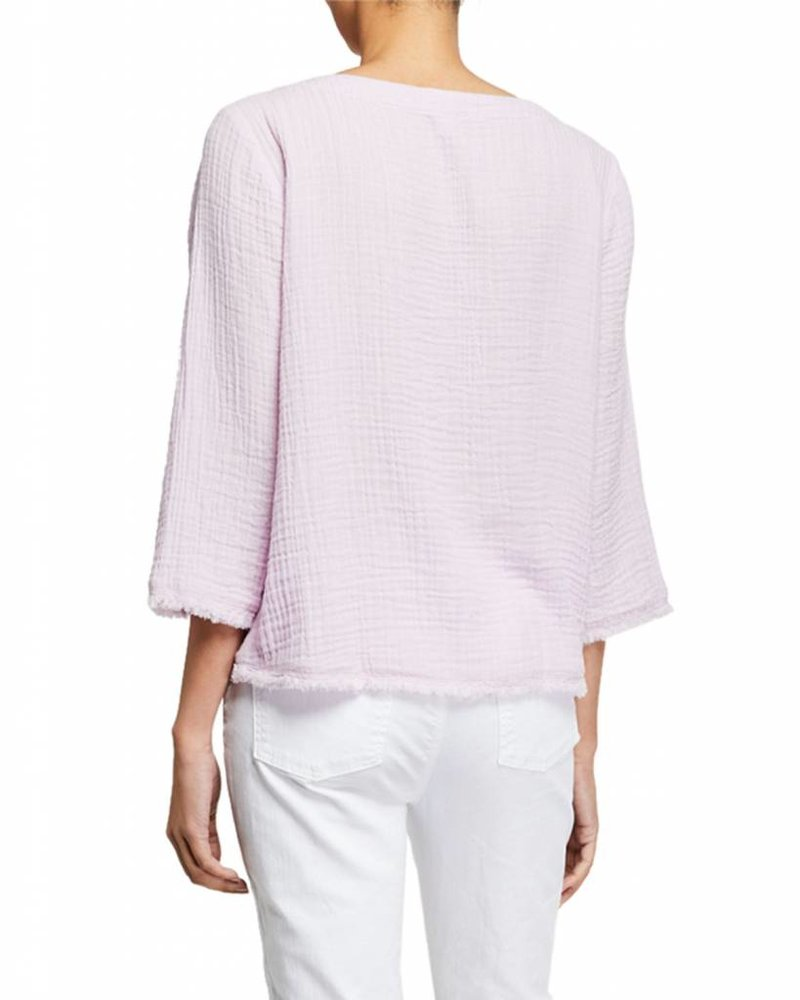 Eileen Fisher Organic Cotton Lofty Gauze Bateau nk 3/4slv Top
