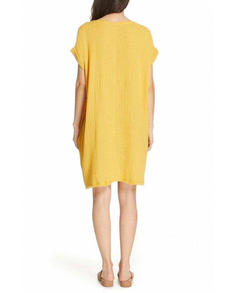 Eileen Fisher Organic Cotton Lofty Gauze Ballet Neck Dress