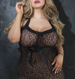Shirley Of Hollywood Animal Patterned Stretch Lace Halter Neck Chemise with Satin Bow Blk