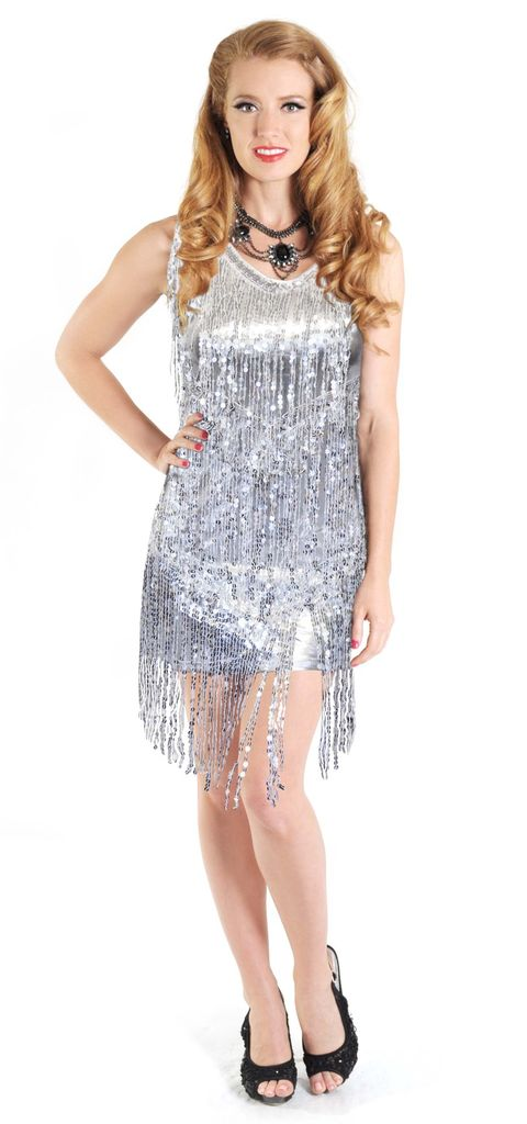 Western Fashion Flapper Dress Silver Sequin Fringes Large