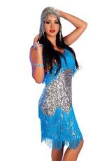 Western Fashion Flapper Dress Turquoise Medium