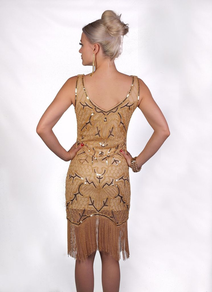 Western Fashion Flapper Dress Fringed Gold Large