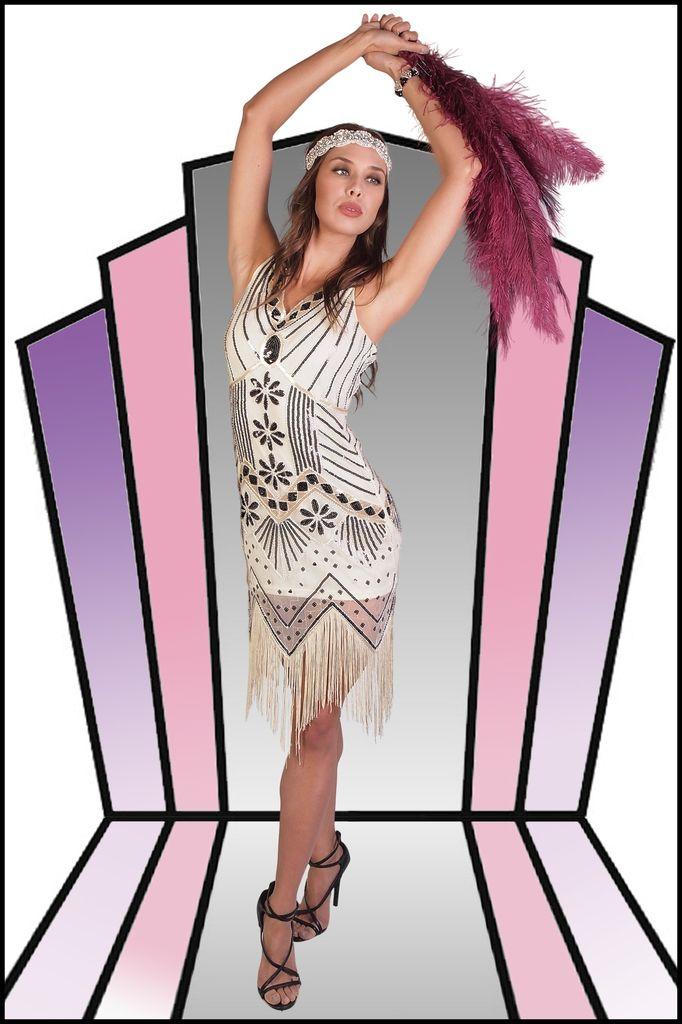 Western Fashion Flapper Dress Beaded Beige Large
