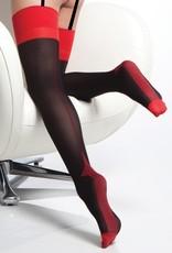 Coquette International Stocking Blk/Red Cuban Heel o/s