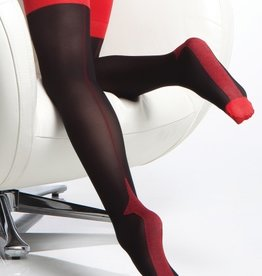 Coquette International Stocking Blk/Red Cuban Heel o/s