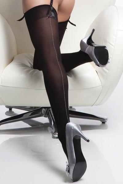 Coquette International Stockings Blk/silver back seam o/s