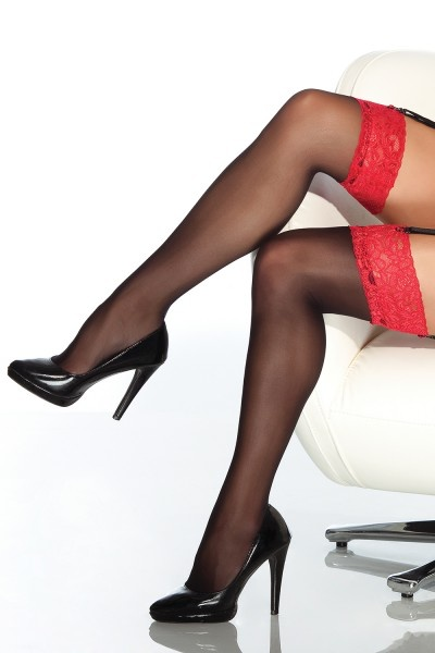 Coquette International Stockings Blk/red lace topmo/s