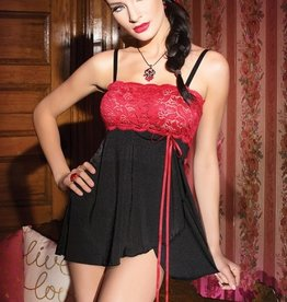 Coquette International Babydoll Blk/red O/S