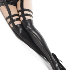 Coquette International Wetlook stockings Black