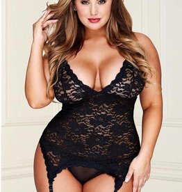 Baci Black Floral LAce Bustier with G-string OS/XL