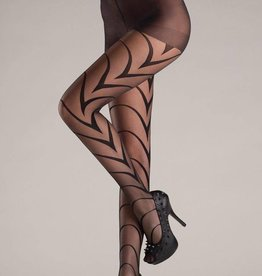 Be Wicked Sheer black pantyhose with Deco art lines.