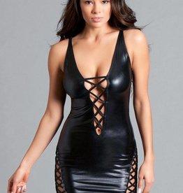 Be Wicked Deep plunge mini dress, cross-strap detail