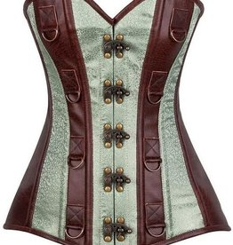 Daisy Corsets Top Drawer Faux Leather &amp; Brocade Steel Boned Corset<br /> Brown/mint Lrg