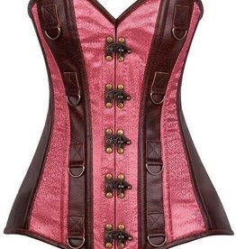 Daisy Corsets Top Drawer Faux Leather &amp; Brocade Steel Boned Corset<br /> Brown/Rose Xlrg