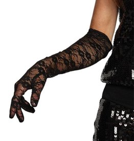 Western Fashion Gloves Black Lace Elbow Length
