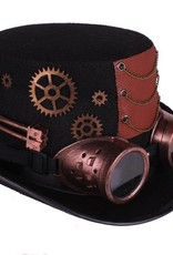 Western Fashion Steampunk Hat with Goggles - Copper Mens