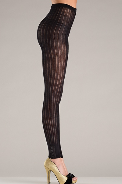 Be Wicked Footless knitted pantyhose with button design cuffs.