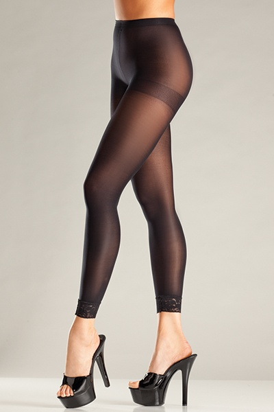 Be Wicked Opaque black footless pantyhose with lace trim