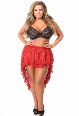 Daisy Corsets Red Lace High Low Skirt