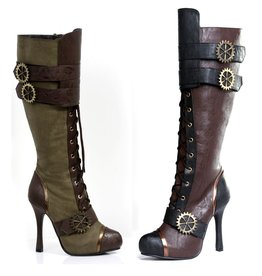 "Ellie Shoes 4"" Knee High Steampunk Boot With Laces brown"
