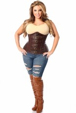 Daisy Corsets Daisy TD-638 Top Drawer Dark Brown Distressed Faux Leather Underbust Buckle Corset