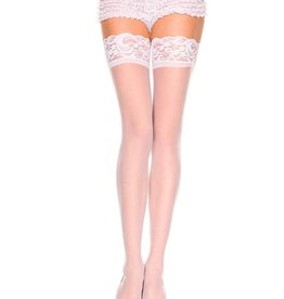 Music Legs Lace Top Opaque Thigh Hi White