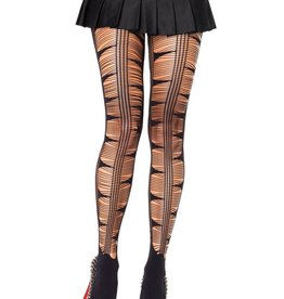 Leg Avenue Opaque spandex pantyhose w/eyelash web and net stripe front accent