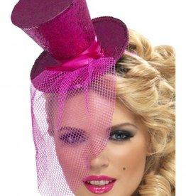 Smiffy's Smiffy's Mini Top Hat On Headband Hot Pink