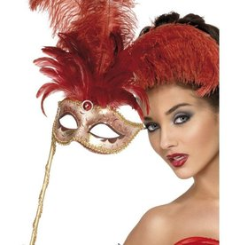 Smiffy's Smiffy's Red Gold Masquerade Mask On Handle
