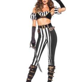 Leg Avenue 5 PC Black Beauty Pirate Top arm Puffs, pants, Belt, hat, medium