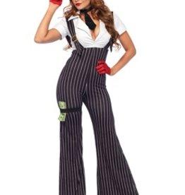 Leg Avenue 3 Pc Brass Knuckle Babe, suspender catsuit, neck tie, money leg garter, medium