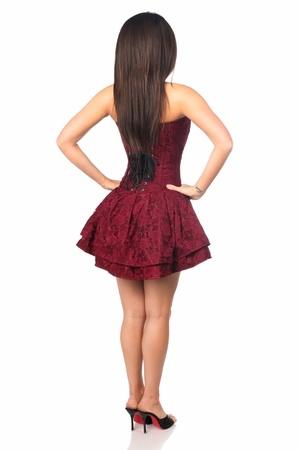 Daisy Corsets Top Drawer Wine Lace Steel Boned Ruffle Corset Dress