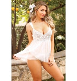 Pink Cherry Monaco Geometric Lace Babydoll and Panty