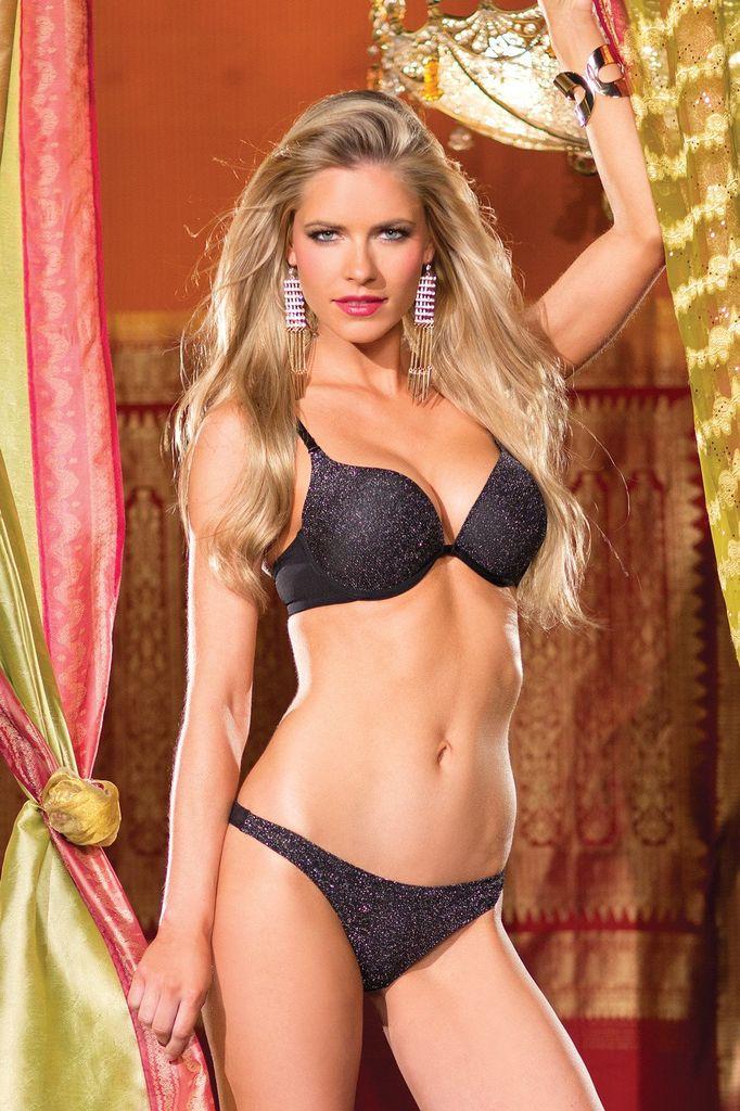 Be Wicked 2 Piece Silver Sparkle Bra And Thong