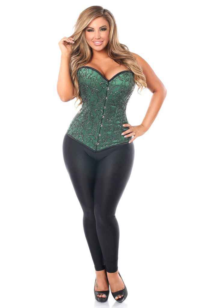 Daisy Corsets Top Drawer Elegant Green Embroidered Steel Boned Corset