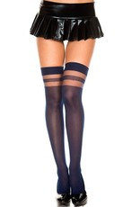 Music Legs Music Legs 4138 Opaque Thigh High With Sheer Stripes Top