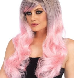 Leg Avenue Blended two-tone pastel long wavy wig pink/grey