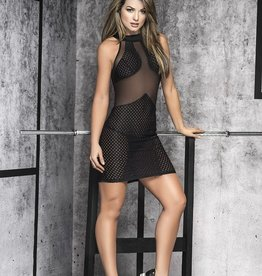 Mapale Scoop Neckline With Panels of Sheer Mesh & Netting Mid Thigh Length Dress