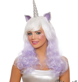 Dream Girl Unicorn Layered Wig With Glitter Horn & Ears