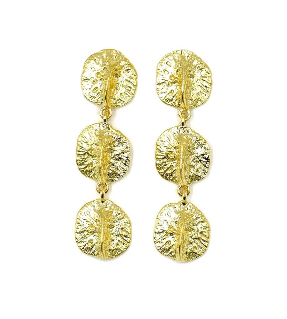 Alligator Scute Earrings - Triple - Vermeil