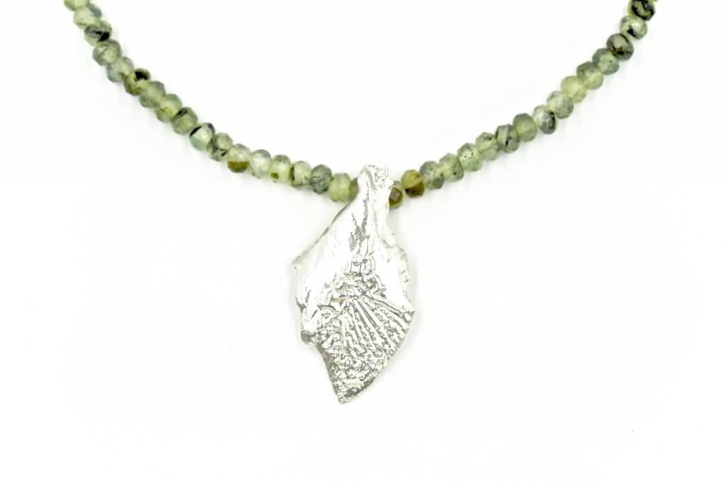 Garfish Scale Pendant Necklace - Sterling Silver (XL)