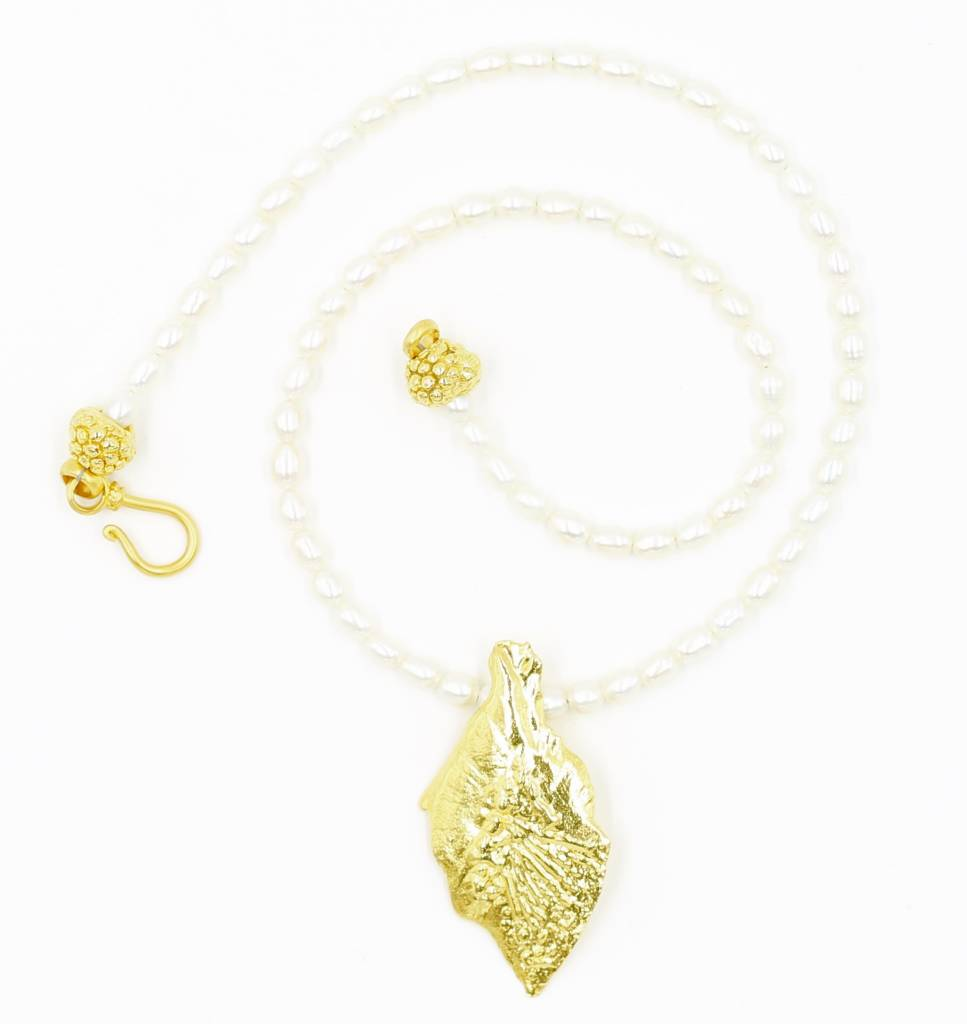 Garfish Scale Pendant Necklace - Vermeil (XL)