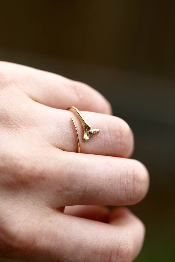 Rattlesnake Rib Ring - 14k Gold